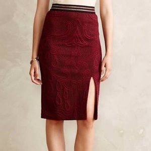 Anthropologie Slit Jacquard Pencil Skirt, Size XS